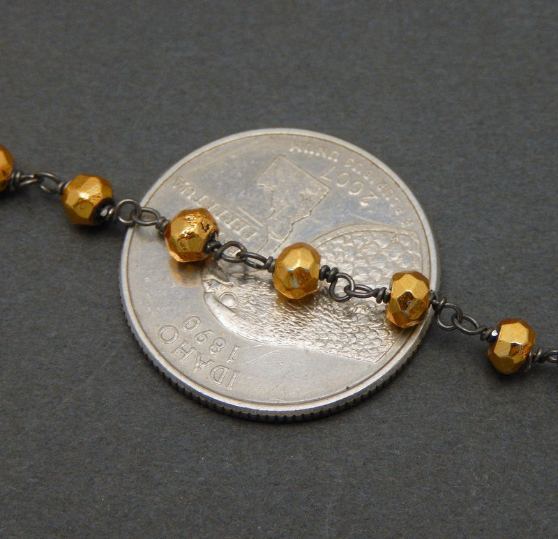 Gold Pyrite on Oxidized Sterling Silver Wire Wrapped Chain --  ONE FOOT (CHN-473)