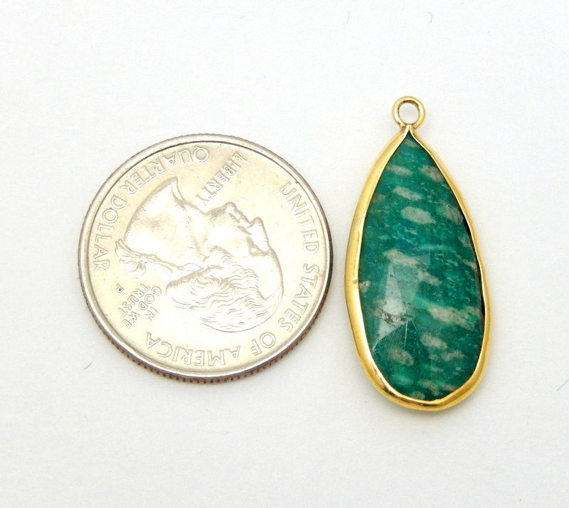 Amazonite Teardrop Pendant- 12mm x 25mm Gold Over Sterling Bezel - Single Bail Charm Pendant