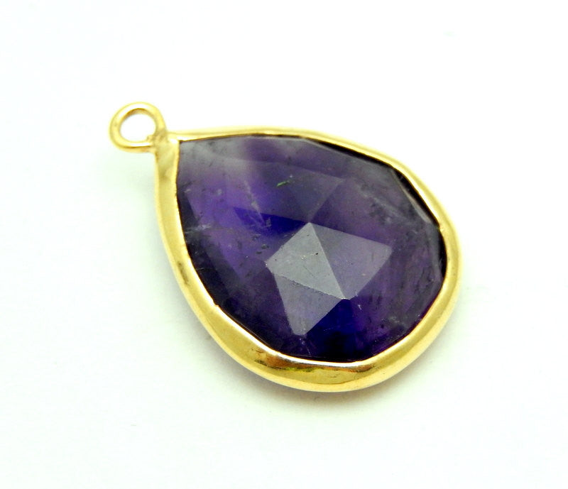 Amethyst Quartz Teardrop Pendant- 14mm x 18mm Gold Over Sterling Bezel - Single Bail Charm Pendant
