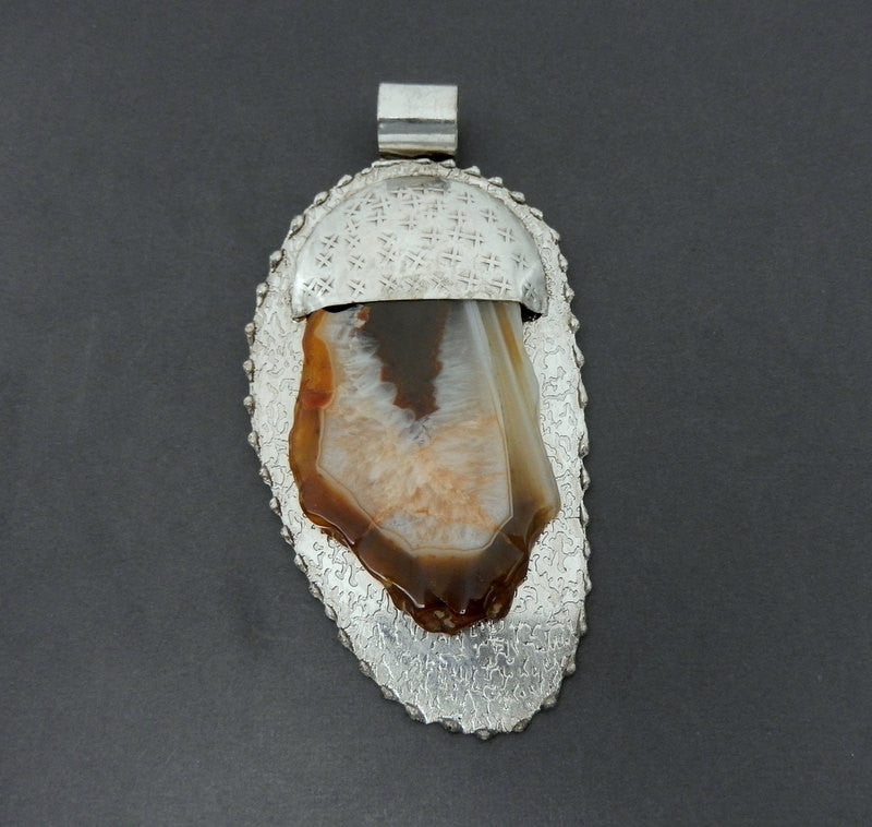Antique Silver Toned Tibetan Style Large Agate Pendant