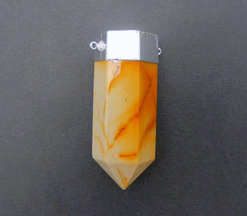 Jasper Point Double Bail Pendant with Silver Electroplated Cap and Bails