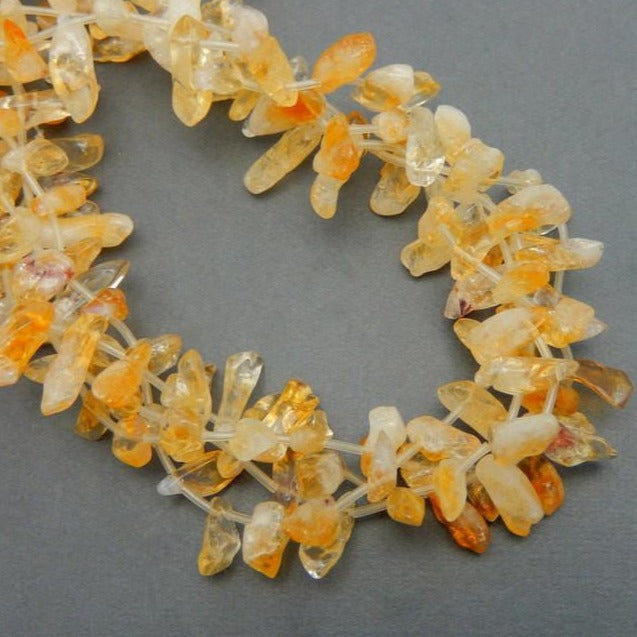 Citrine Points 10mm Beads - Citrine Quartz Beads - 1 STRAND (S52B1-02)