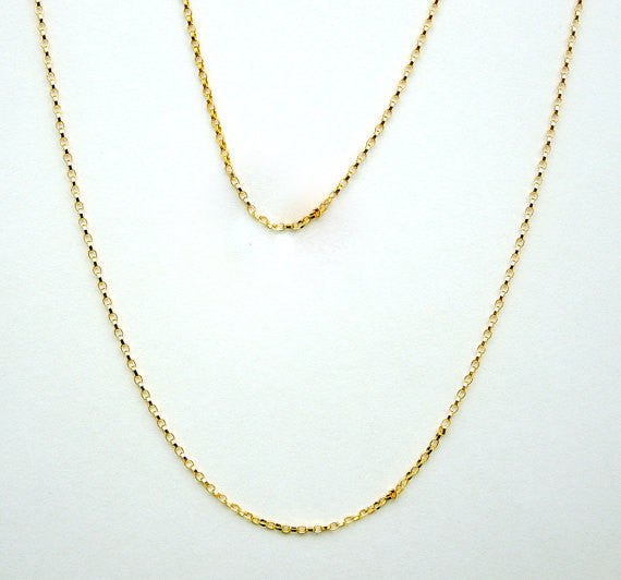 "Gold Chain- 16"" Gold Fill Finished Rolo Chain Necklace with Spring Clasp 1.1mm"