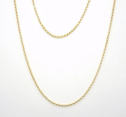 "Gold Chain- 18"" Gold Fill Finished Rolo Chain Necklace with Spring Clasp 1.4mm"