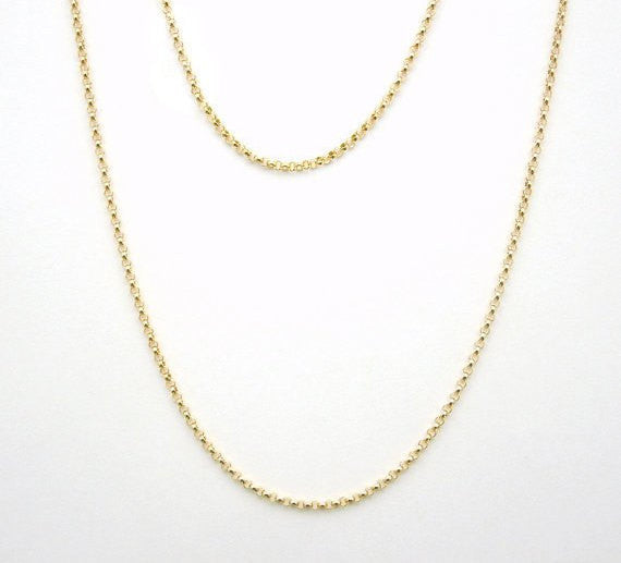 "Gold Chain- 16"" Gold Fill Finished Rolo Chain Necklace with Spring Clasp 1.4mm"