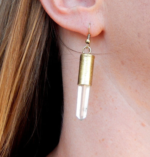 Lovely Crystal Quartz Point Earrings with Antique Silver Toned Cap