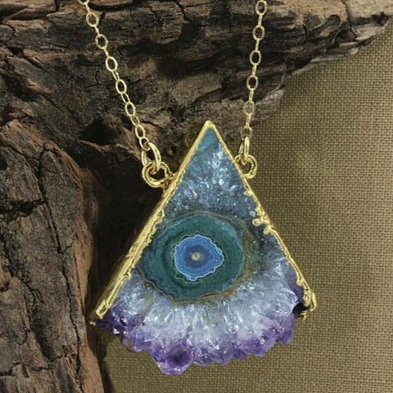 Amethyst Triangle Druzy Slice Silver Electroplated Edge and Double Bail Pendant - ASP (S1B10-12)