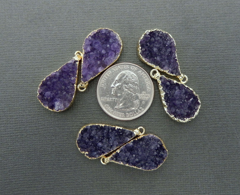 Amethyst Teardrop Druzy Pendant Pairs with 24k Gold Electroplated Edge and Bails (S74B11-03)