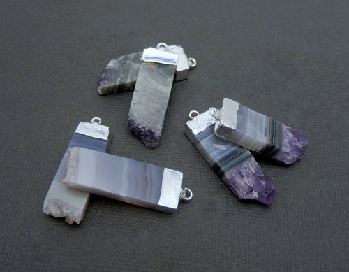 Amethyst Slice Pairs with Silver Electroplated Cap and Bail Pendant (S74B11-07)