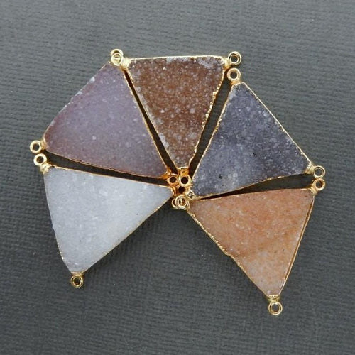 Beautiful Druzy Triangle Shape Triple Bail Pendant with 24k Gold Electroplated Edge and Bails (S74B11-08)