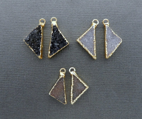 Druzy Triangle Shape Pendant Pairs with 24k Gold Electroplated Edge and Bails (S74B11-09)