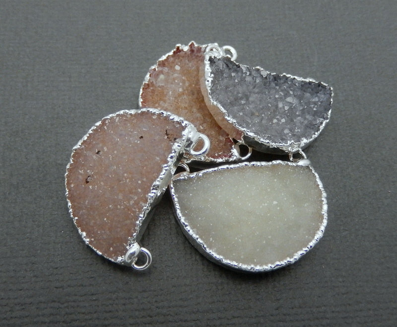 Colorful Druzy Half Circle Double Bail Pendant with Silver Electroplated Edge and Bails (S74B11-05)