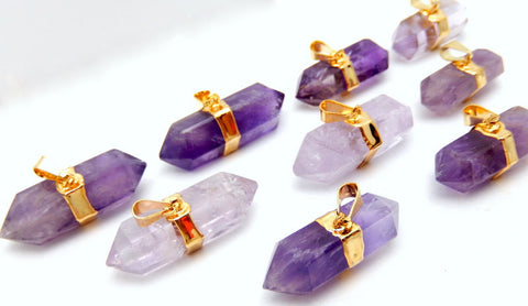 Amethyst Double Terminated Longer Nugget Pendant with Electroplated 24k Gold Edge and Bail