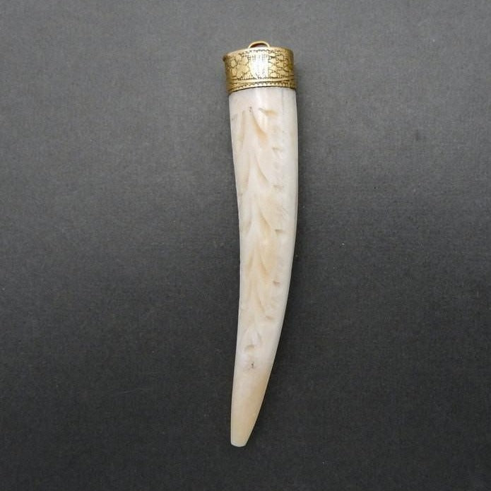 Beautiful White Carved Bone Horn Style Pendant with Brass Cap and Bail S26B9-03