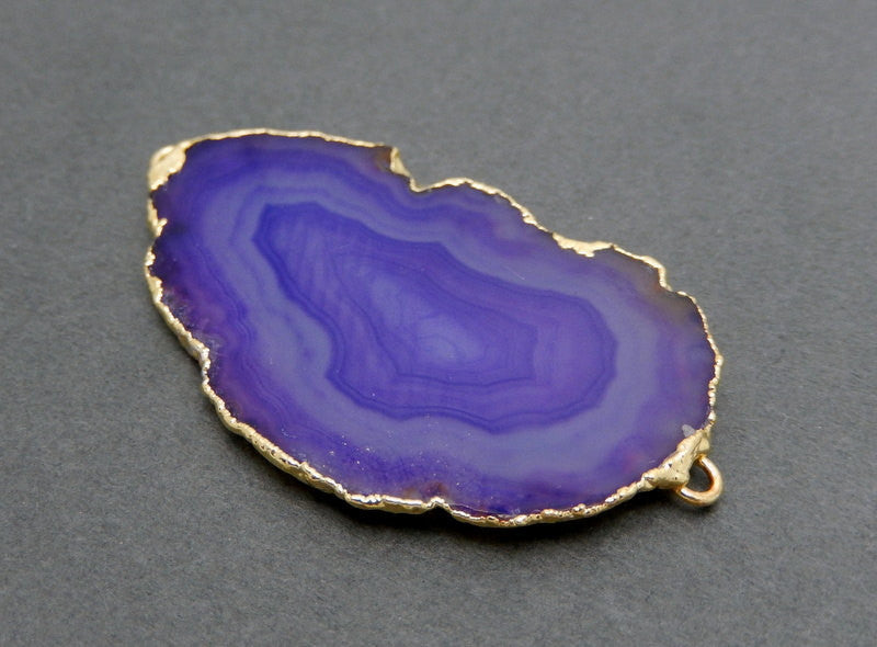 Petite Purple Agate Slice Connector with 24k Gold Electroplated Edge DSA