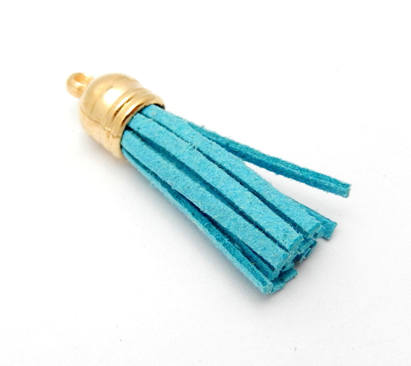 Tassel Pendant-- Turquoise Faux Leather Tassel Pendant with Gold Toned Cap
