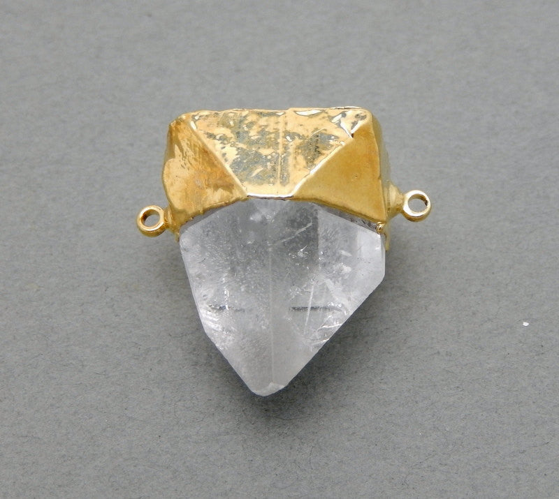 APOPHYLLITE Point Double Bail Pendant Connector with Electroplated 24k Gold Cap and Bails