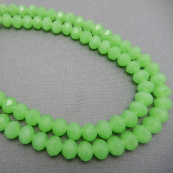 Lime Green Chinese Crystals Large Beads 10mm  Beaded Strand - STRAND (S55B11-02)