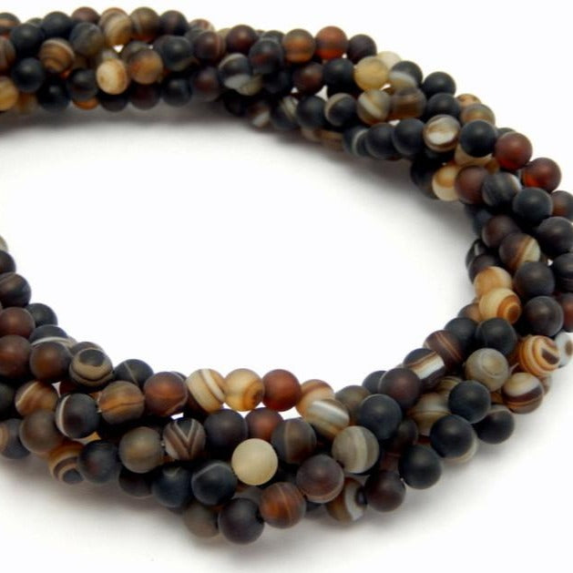 Agate Beads - 5mm Matte Brown Tibetan Agate Round Beads - 1 STRAND (S55B14-02)