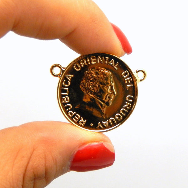 Uruguay 5 Pesos Coin Double Bail Pendant Connector With 24k Gold Electroplated