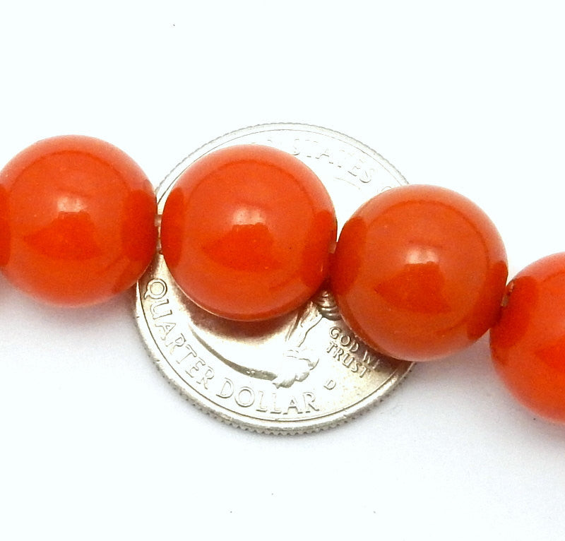 Large Deep Orange Agate Colored 13mm Round Beads - 1 STRAND