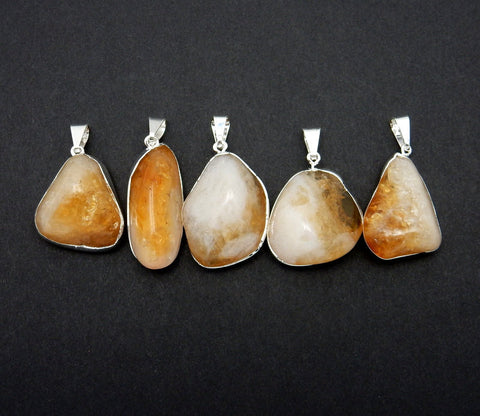 Tumbled Citrine Quartz Pendant - Tumbled Citrine Charm with Silver Electroplated Cap and Bail (S82B12-03)