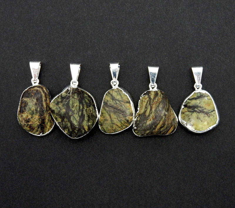 Green Zebra Jasper Pendant Charm with Electroplated Silver    (S82B12-11)