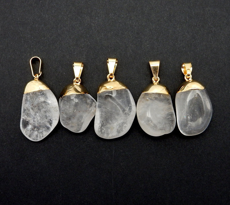 Overstock SALE Tumbled Crystal Quartz Pendant Charm with Gold Electroplated Cap      (S82B12-12)