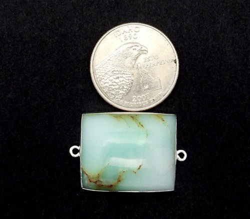 Chrysoprase Square Pendant Charm with Silver Electroplated Double Bail (S82B12-13)