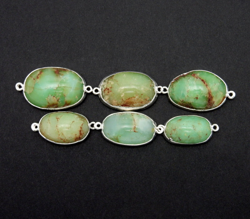 Double Bail Sideways Chrysoprase Oval Pendant with Silver Electroplated Edge  (S82B12-15)