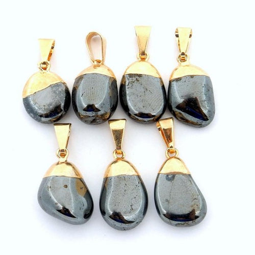 24k Gold Electroplated Tumbled Hematite Pendant   (S82B12-14)