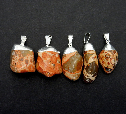 Tumbled Jasper Pendant with Electroplated Silver Cap (S82B12-01)