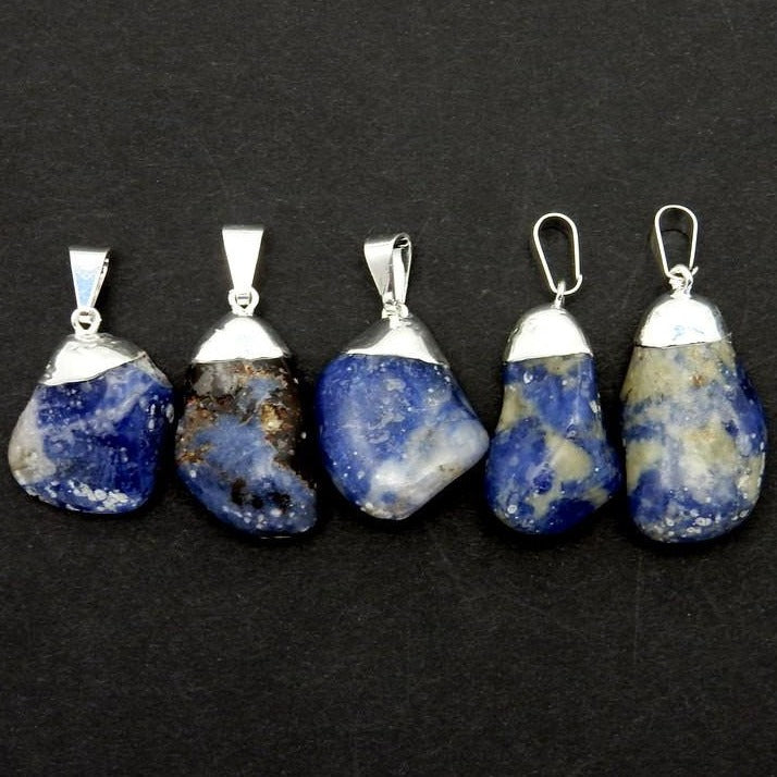 15% off SALE Sodalite Tumbled Pendant Charm with Electroplated Silver Cap (S82B12-02)