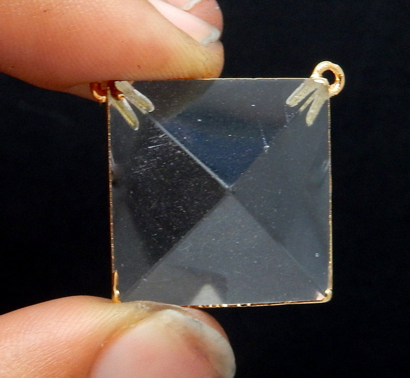 Natural Crystal Quartz Pyramid Pendant with Electroplated 24k Gold Edge and Double Corner Bails