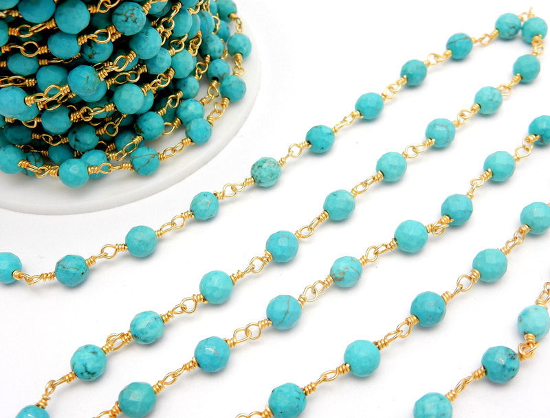 Round Turquoise Howlite Rosary Beaded Chain Gold Plated Wire Wrapped Chain - Delicate Turquoise Prayer Chain