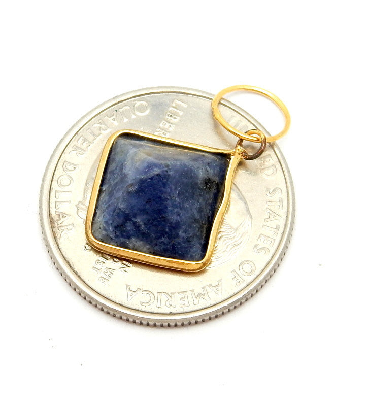 Sodalite Pyramid Pendant with Gold Plated Edge