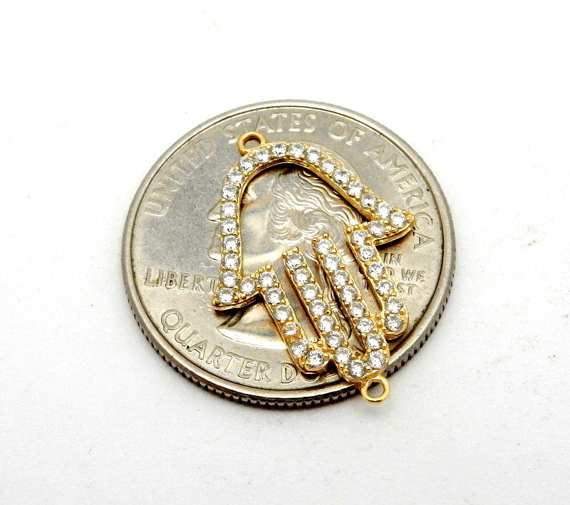 Gold Vermeil Hamsa Hand Double Bail Pendant Connector with CZ Rhinestone Accent (LA-91)