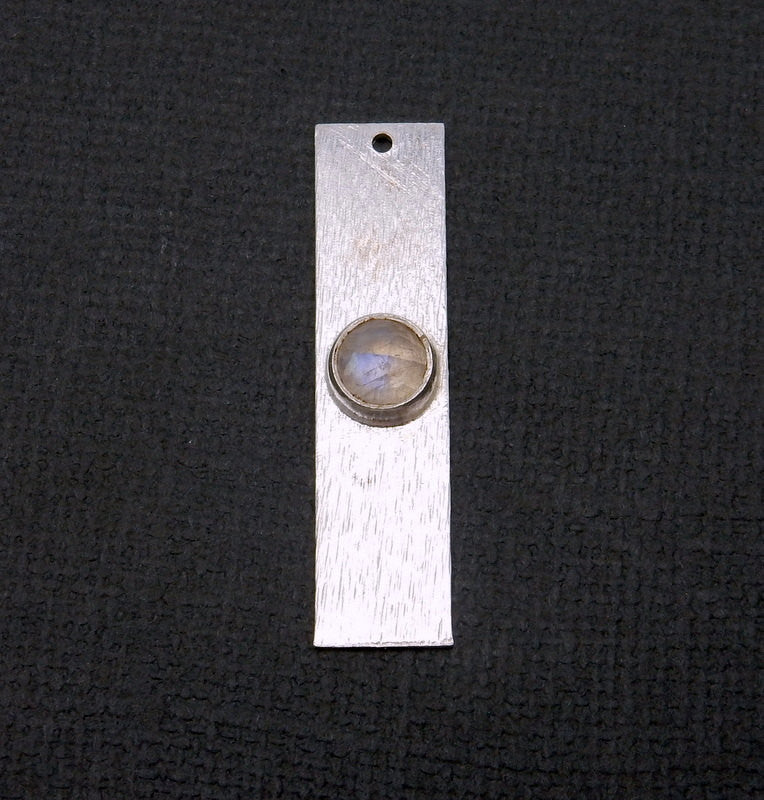 Moonstone Gemstone Bar -- Sterling Silver Bar Charm Pendant with Gemstone Bezel Accent (S84B1-11)