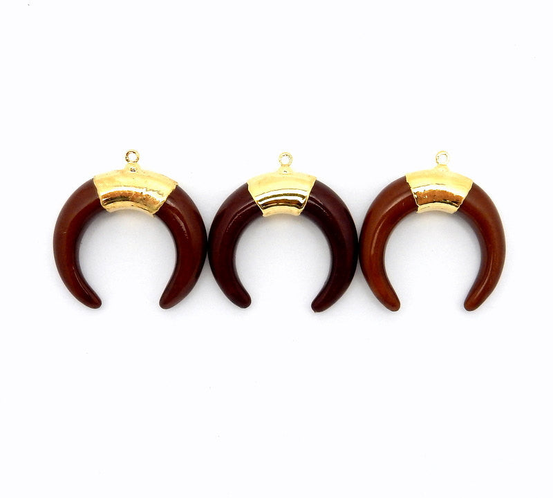 Brown Toned Crescent Double Horn Pendant with 24k Gold Electroplated Trim and Bail (S84B5-04)