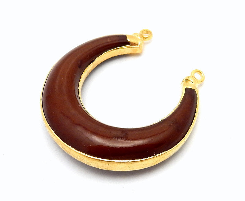 Brown Toned Crescent Double Horn Pendant with 24k Gold Electroplated Trim and Bail