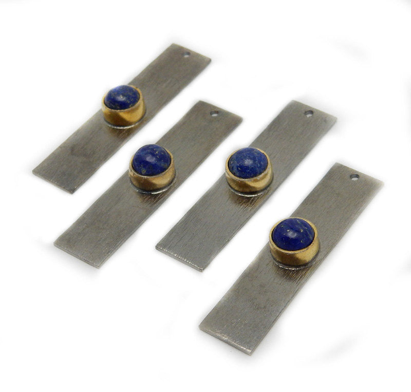 Lapis Lazuli Gemstone Bar -- Oxidized Sterling Silver Bar with Gold Gemstone Bezel Accent (S84B1-23)