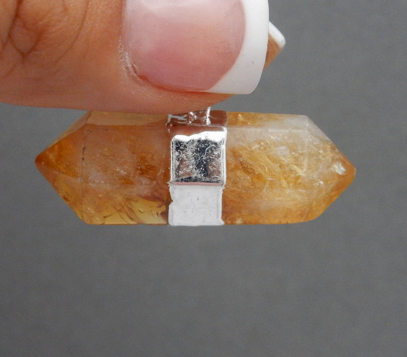 Large Citrine Terminated Point Nugget Pendant with Silver Electroplated Bar