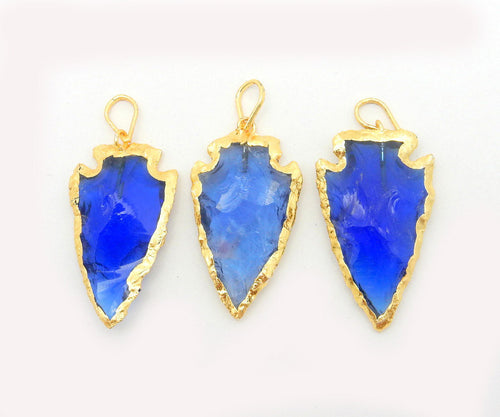 Blue Glass Arrowhead Pendant Charm edged in Electroplated 24k Gold