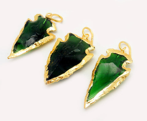 Green Glass Arrowhead Pendant Charm edged in Electroplated 24k Gold