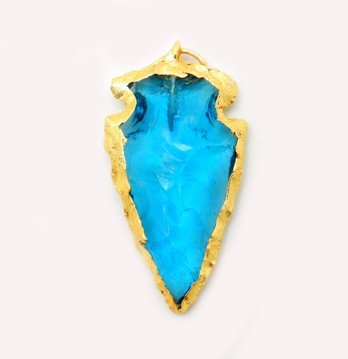 Turquoise Glass Arrowhead Pendant Charm edged in Electroplated 24k Gold