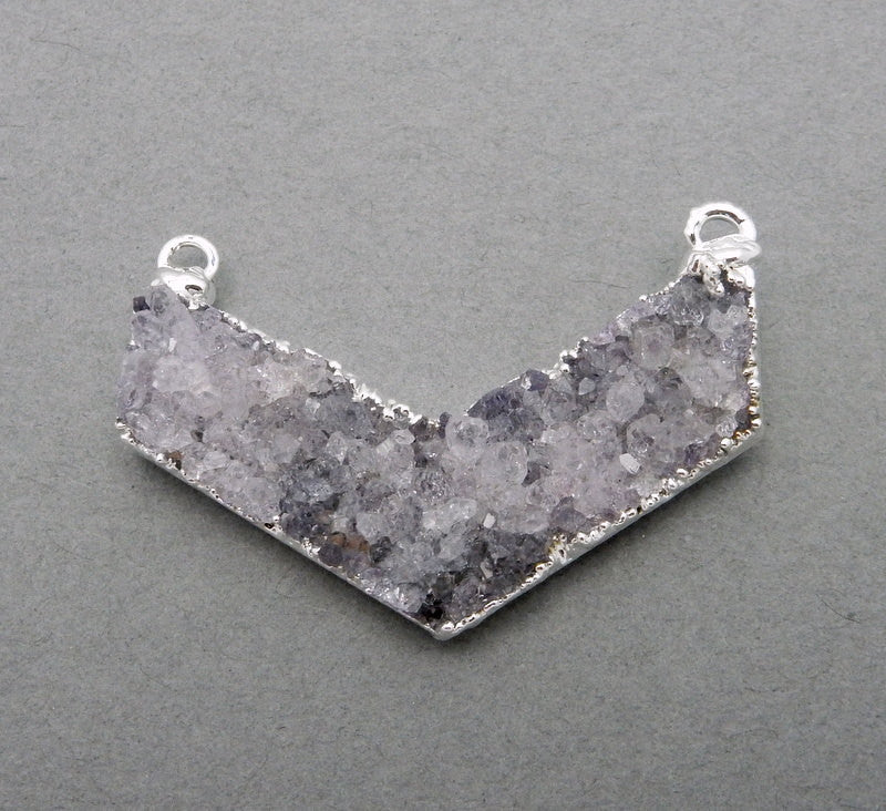 Druzy Chevron Double Bail Pendant with Electroplated Silver Edge (S86B6-02)