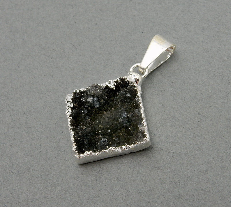 Diamond Shaped Druzy Pendant with Electroplated Silver Edge