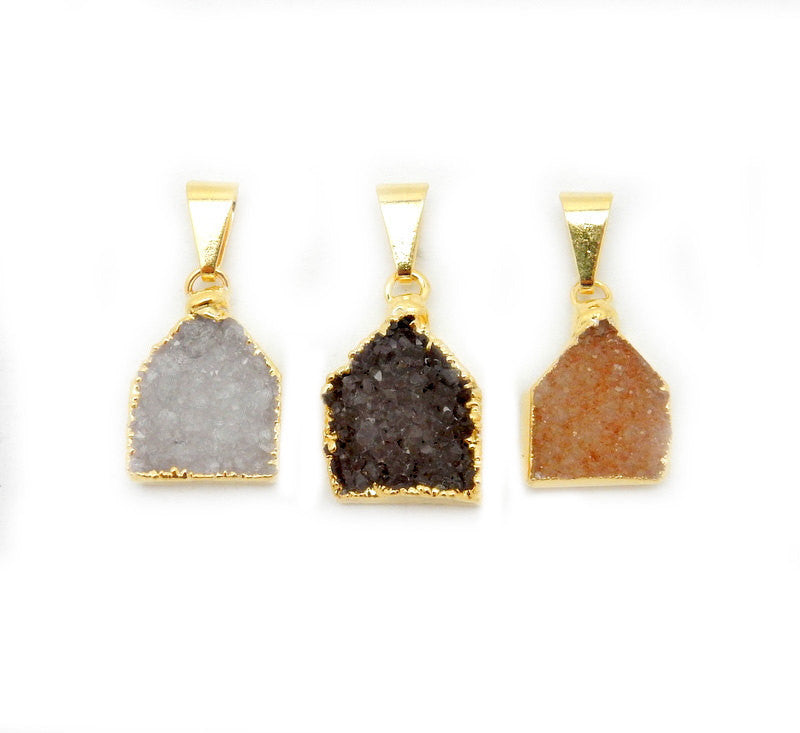 Pentagon Druzy Pendant with Electroplated 24k Gold Edge