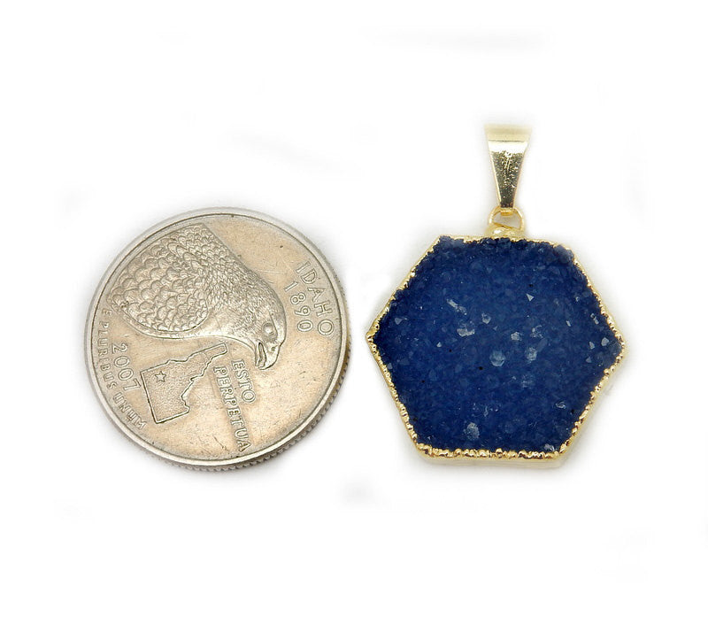 Hexagon Dyed Blue Druzy Pendant with Electroplated 24k Gold Edge STUNNING High Quality Druzzy (S88B1-15)