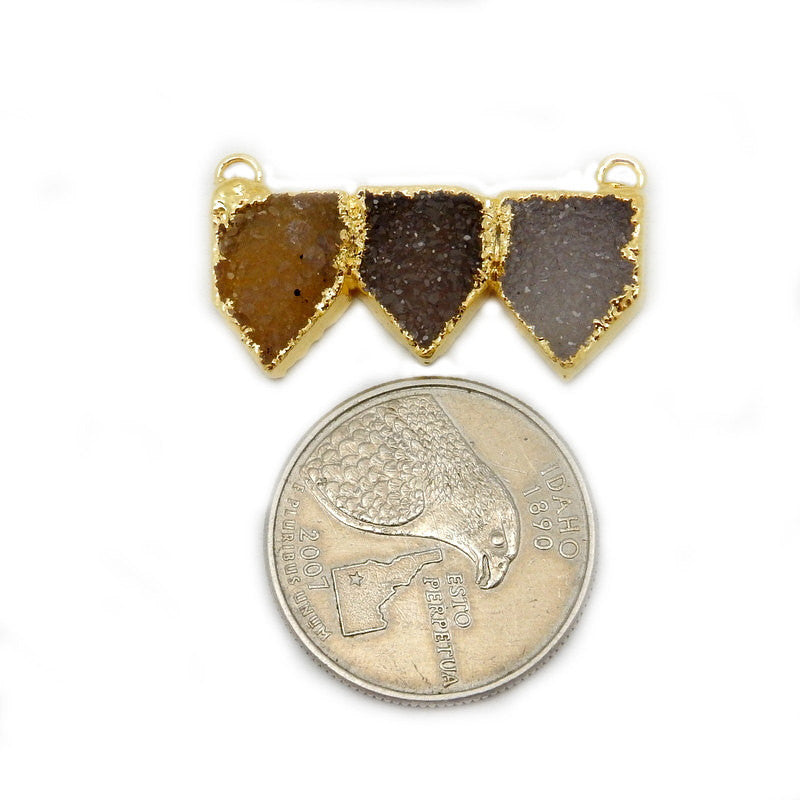Triple Pentagon Druzy Double Bail Pendant with Electroplated 24k Gold Edge